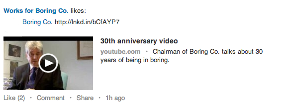 boring video share on linkedin
